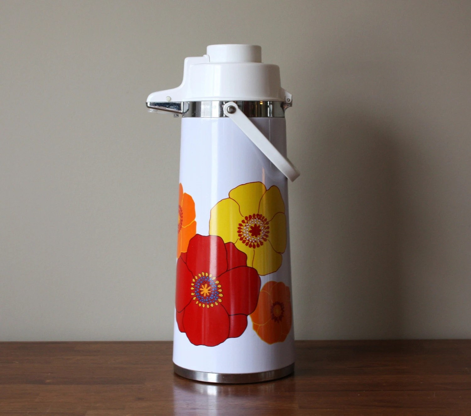 Vintage Retro Floral Beverage Pump Thermos