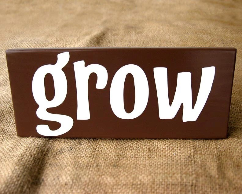 GROW painted wooden garden sign
