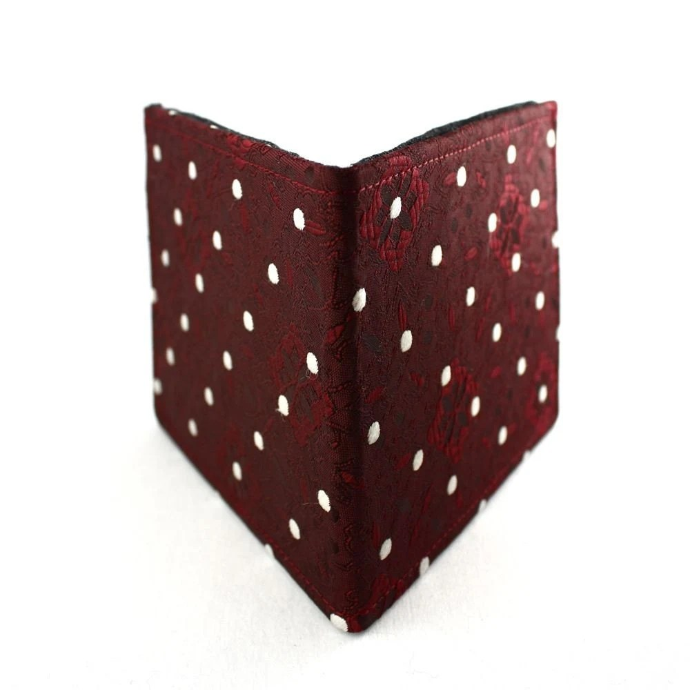 Necktie Wallet - Recycled Red Polka Dots Tie