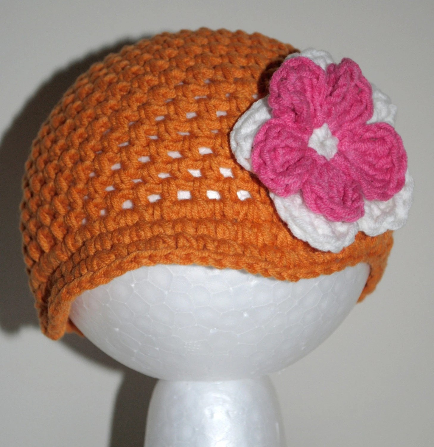 Newborn Brimmed Beanie - Orange with White and Pink Flower