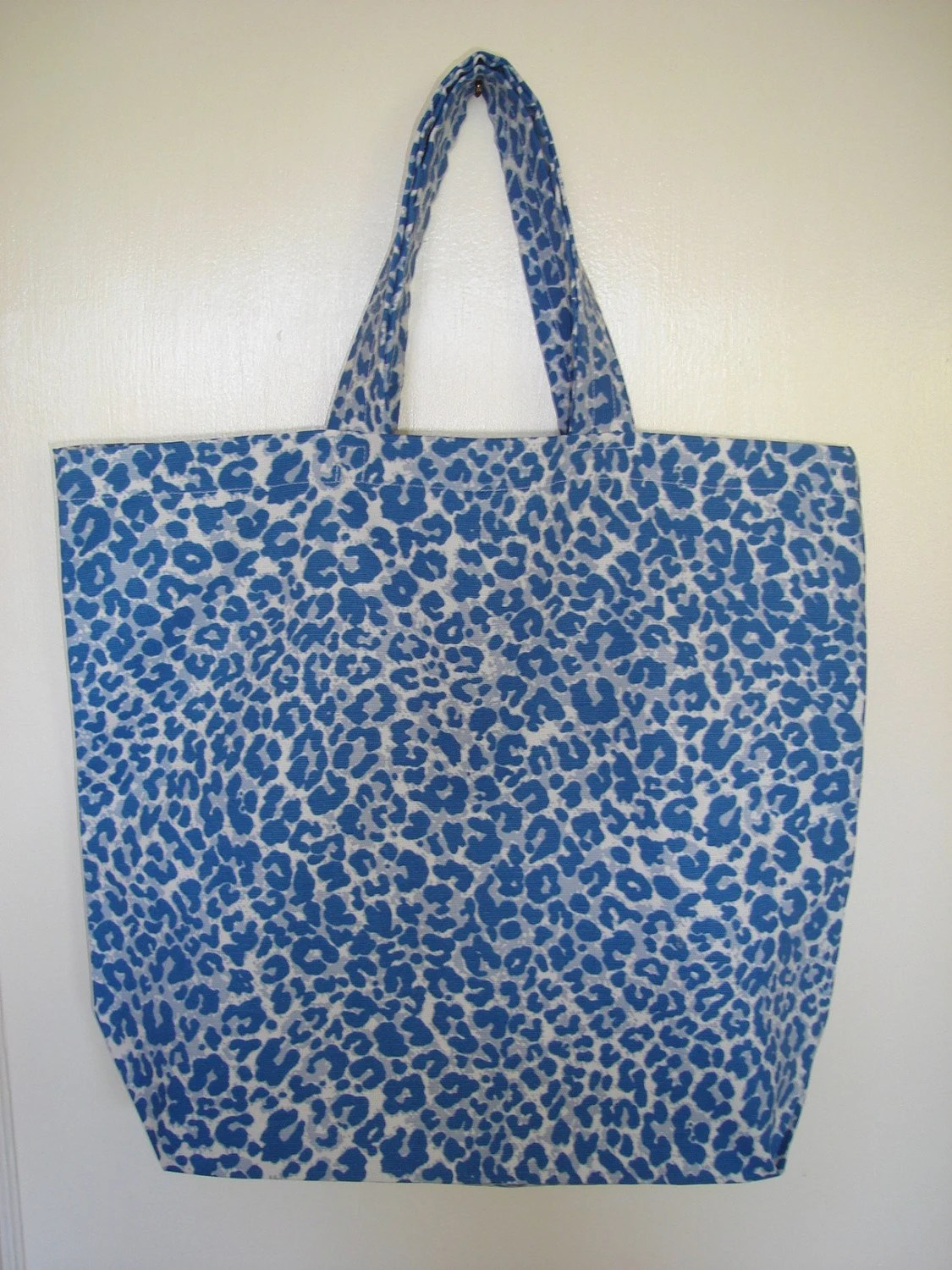 Bag,  Reusable, Tote, Eco Friendly, Blue Faux Animal Print by ButtermilkCottage on Etsy