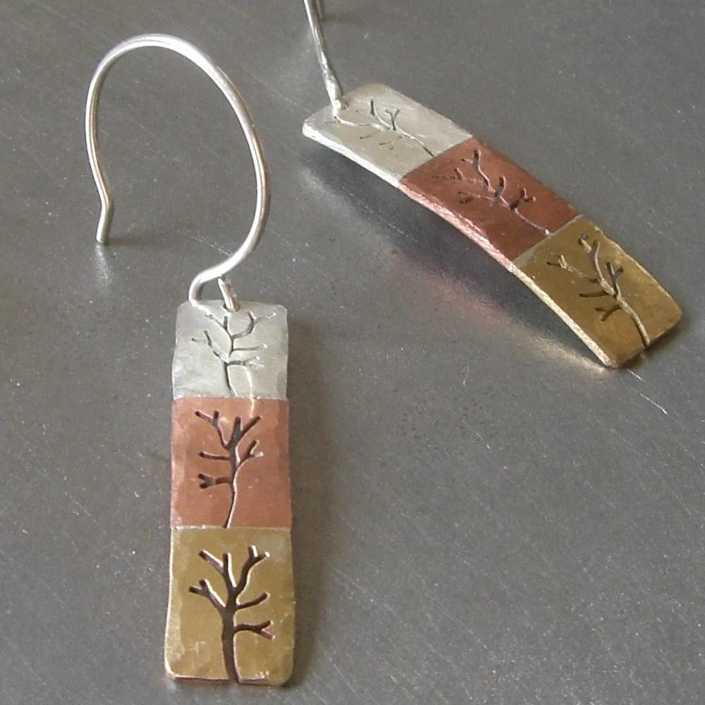 Small Triple Tree Earrings by Beth Millner