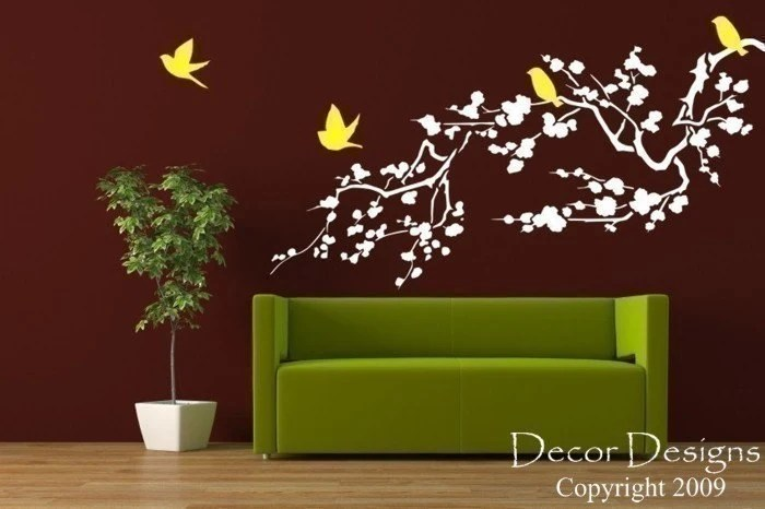 Birds Around the Cherry Blossom Branch Wall Decal