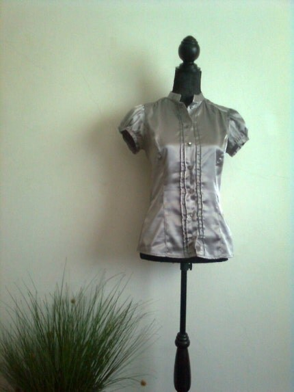 Vintage Secretary Blouse, Chic and Romantic Bright Dark Grey Blouse with Ruffled and Puffy Short Sleeve, Button Down