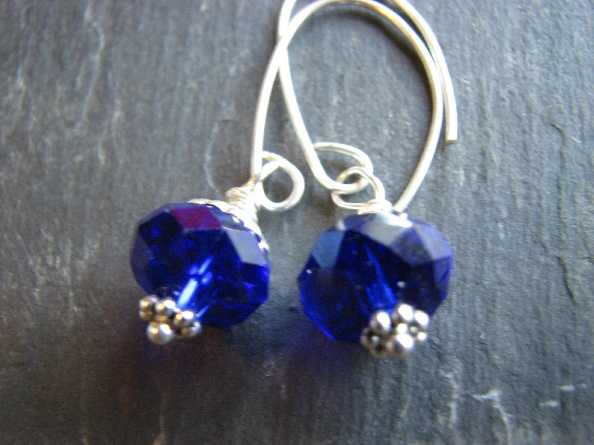 Brilliant Blue Drop  Earrings- Sterling Silver and Cobalt Blue Czech Glass