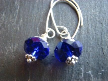 Brilliant Blue Drop  Earrings- Sterling Silver and Cobalt Blue Czech Glass