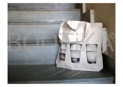Handpainted Tote Bag with Chai Glasses