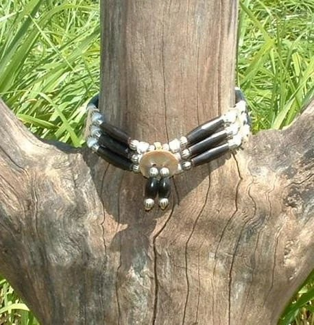 Bone choker abalone black horn and clear glass white heart beads