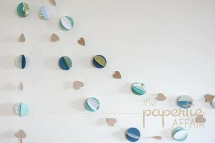 Gorgeous Paper Garland - Aqua/Blue/Green Scalloped Circles and Kraft Hearts