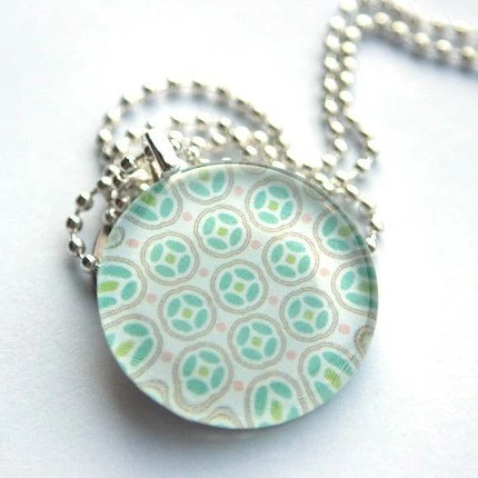 Funky Green Medium Circle Necklace Handmade