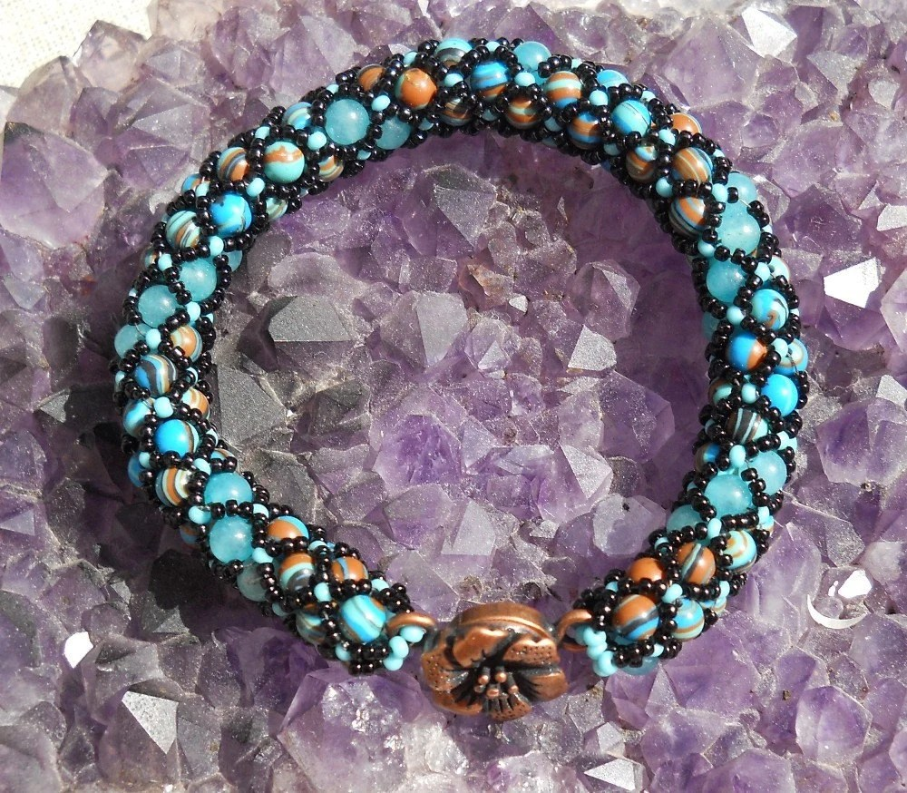 Beaded Bracelet - Turquoise Composite Netted Spiral