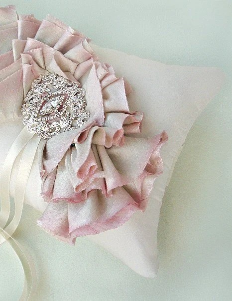 Pink Silk Ombre Ruffle Ring Bearer Pillow