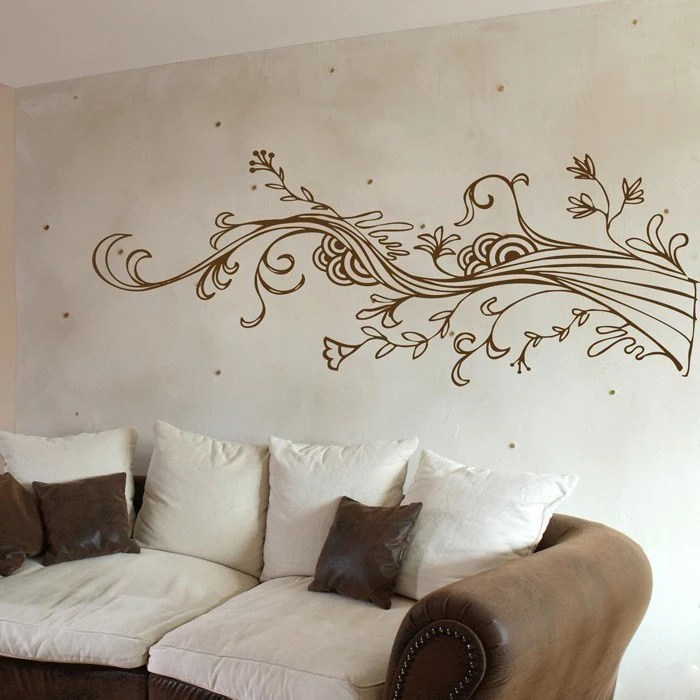 Swirling Wispy Tree Branch with Flowers - Vinyl Wall Decals - Your Choice of Color