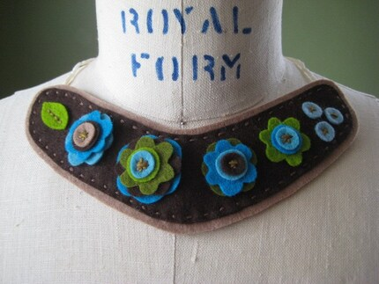 felt flower collar necklace - folkloric