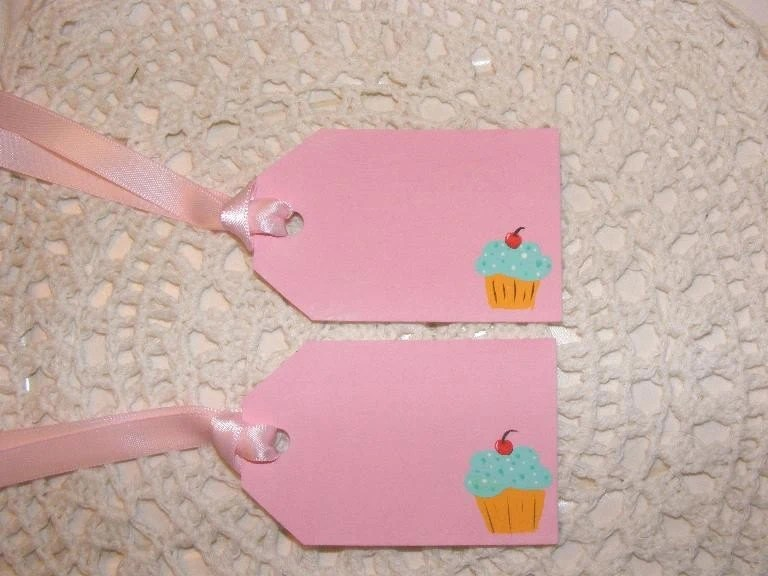 Cupcakes Cottage Style Set of 2 Gift Tags Pink and Aqua