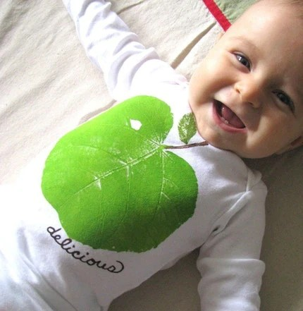 delicious GREEN APPLE leaf printed one piece long sleeved -- size newborn, 3, 6, 9 12 or 18 months