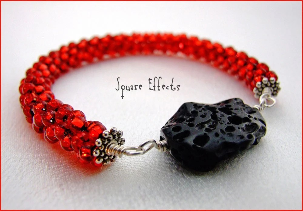 SALE - etsyBEAD Team - Bountiful Bracelets - Geothermal lava beaded bangle bracelet