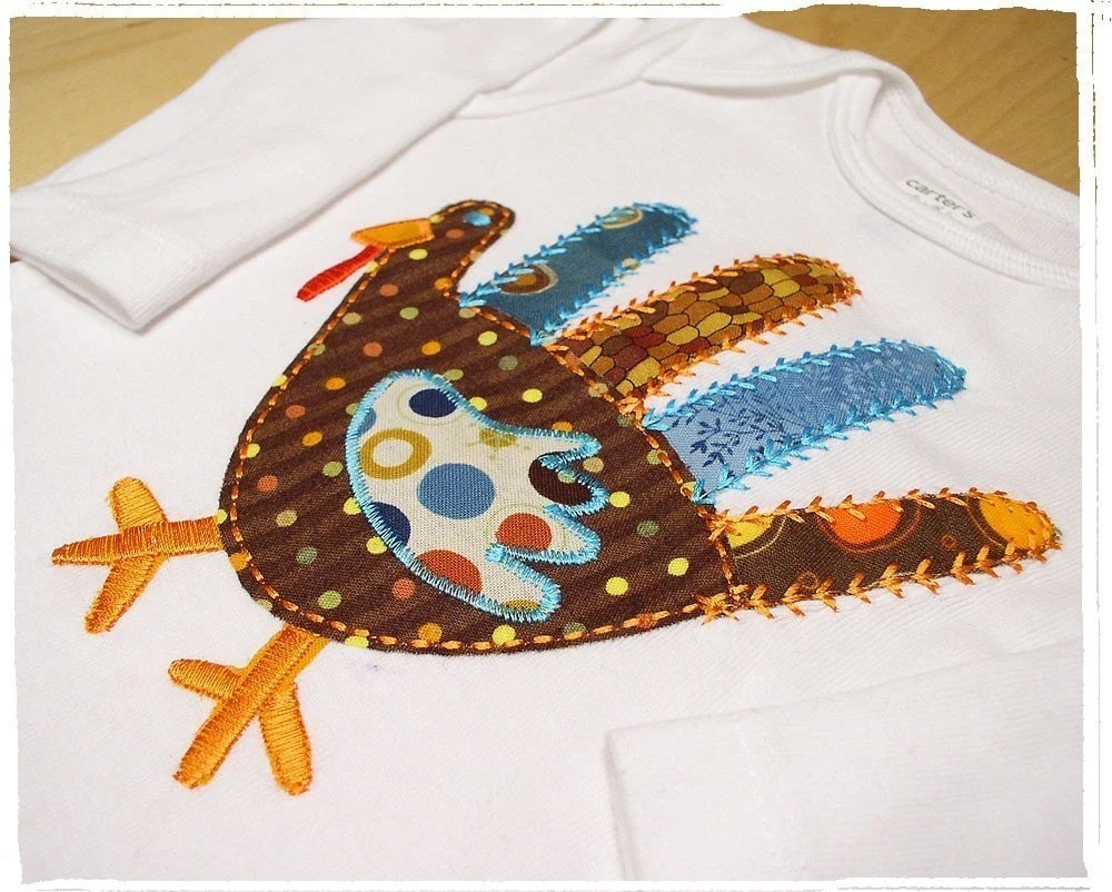 Ready to ship Size 3 month  New Baby Onesie Boy or Girl Long Sleeve Thanksgiving Turkey Bird Holiday