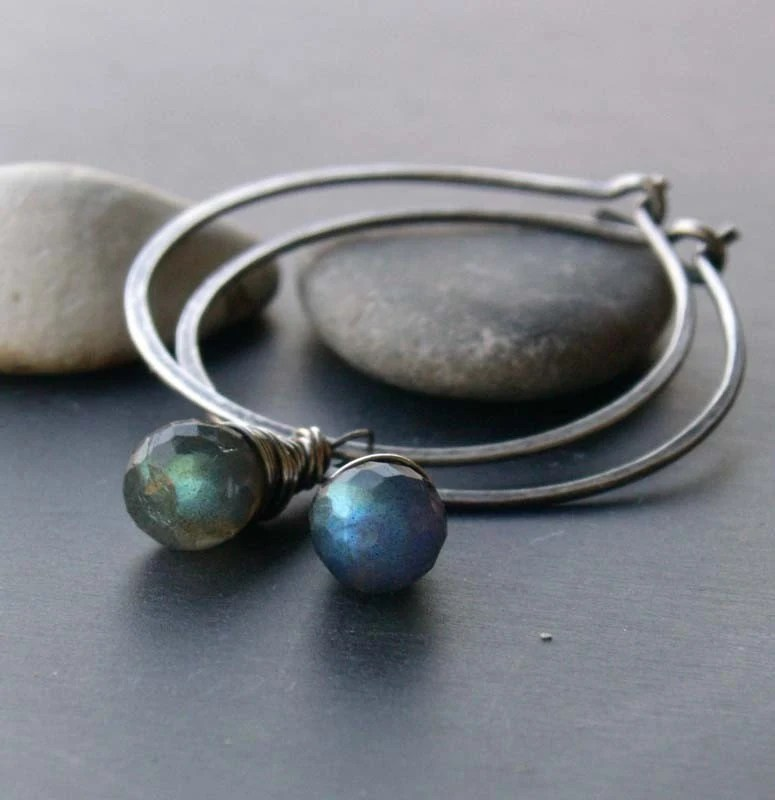 the perfect hoops - labradorite charms