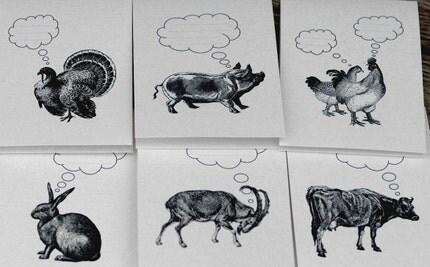 Fantasizing Farm Animals - Set of 6 Folded Notecards with Envelopes