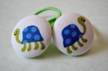 Burt the Blue Turtle Button Ponytail Holders