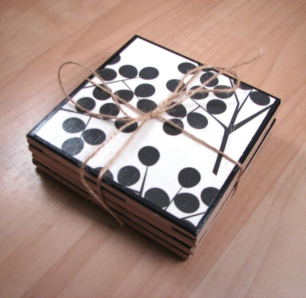 Ceramic coasters - blackberries - set of 4