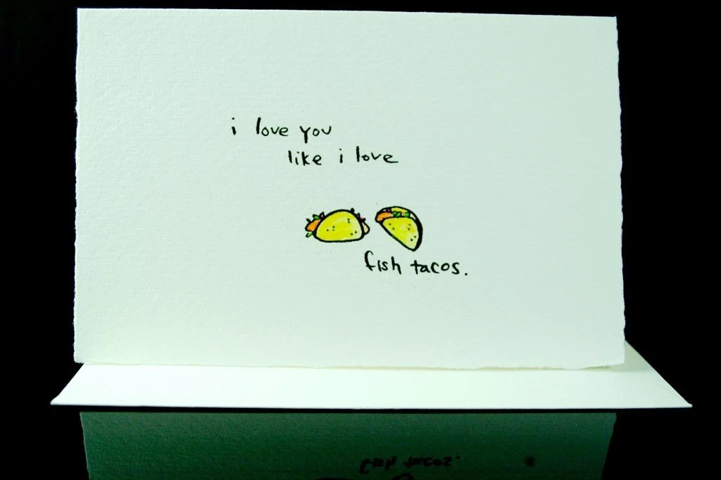 fish taco love--handprinted card