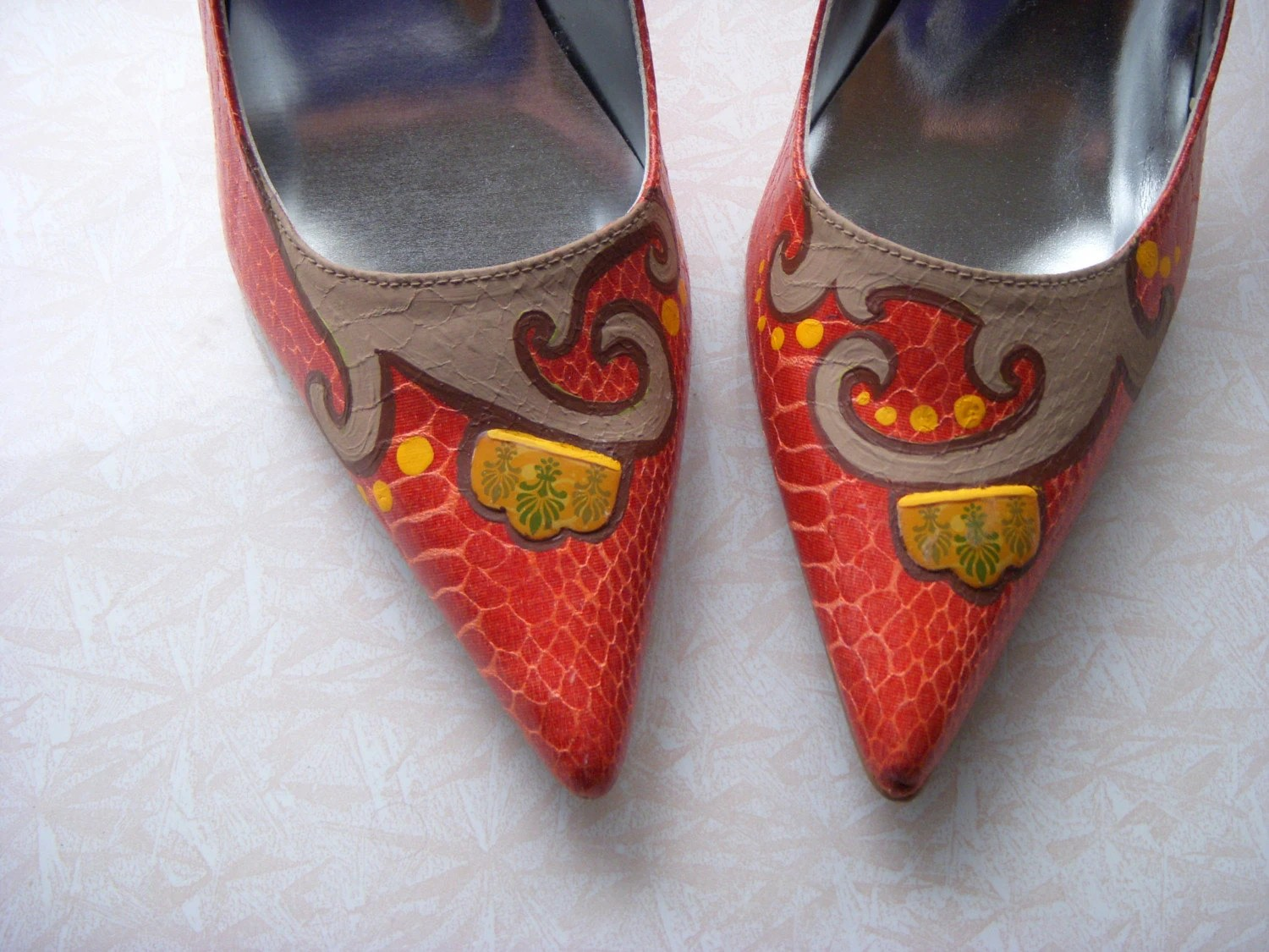 Rustic Whimsy Hand Painted Heels Sz. 7