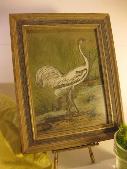 Vintage Original Bird Painting