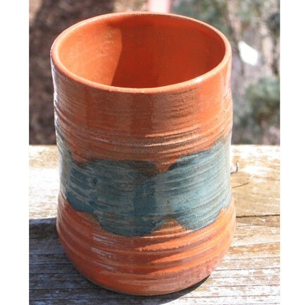 Large Teal and Orange Stoneware Tumbler or Vase