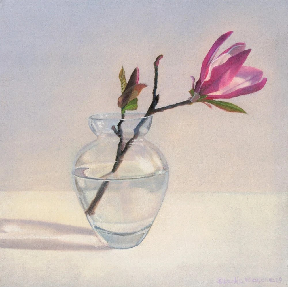Magnolia in Vase by Leslie Macon original oil painting