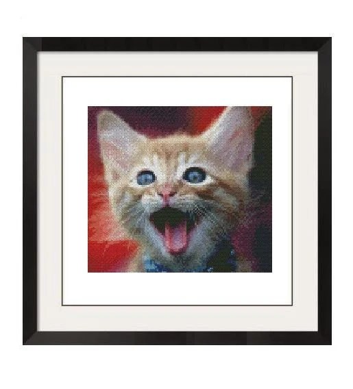 ADORABLE HAPPY CAT CROSS STITCH PATTERN - PDF FORMAT