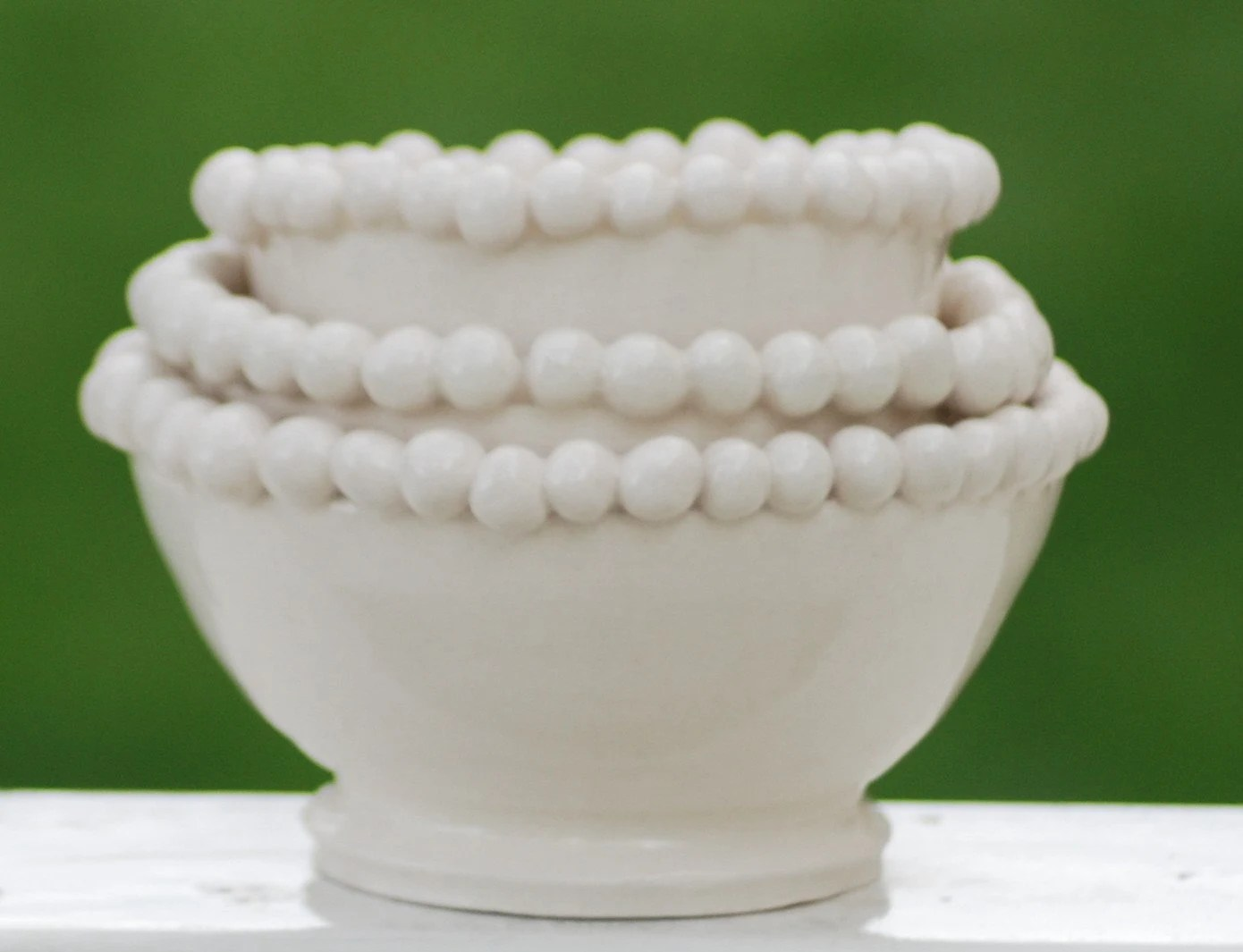 Three Handmade White stacking Bowls from Farmer Julie