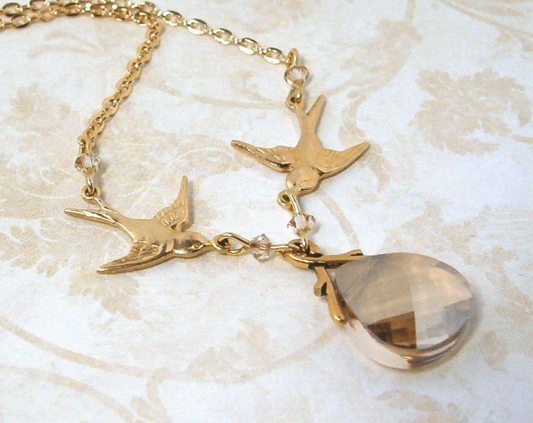 Swooping Sparrows with Golden Swarovski Briolette Necklace