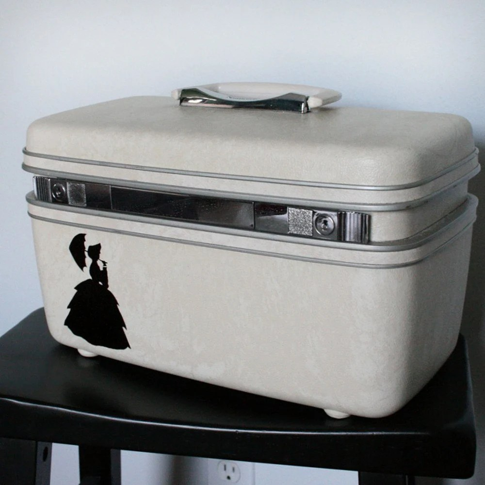 UPCYCLED Off White VINTAGE Train Case with SILHOUETTE of a Lady with a Parasol from NESTAHOME