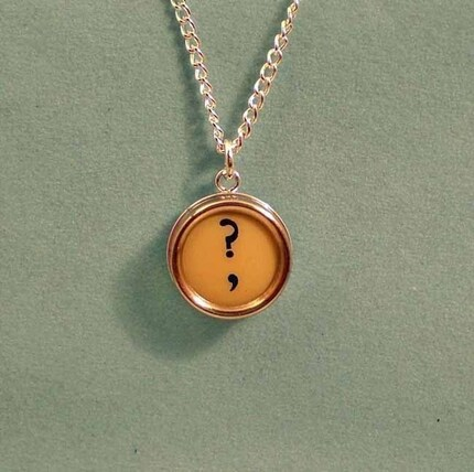 Vintage Typewriter Key Letter Question Mark Charm Pendant and Necklace