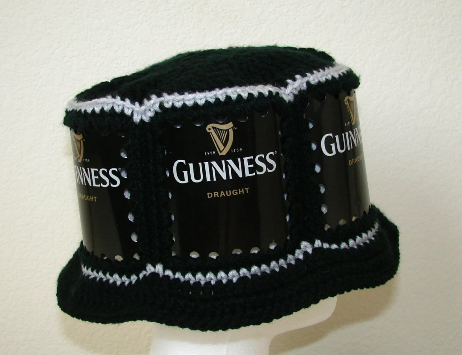 Crocheted Beer Can Hat - Guinness