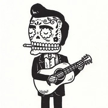 Johnny Cash Calavera Limited Edition Gocco Serigraph
