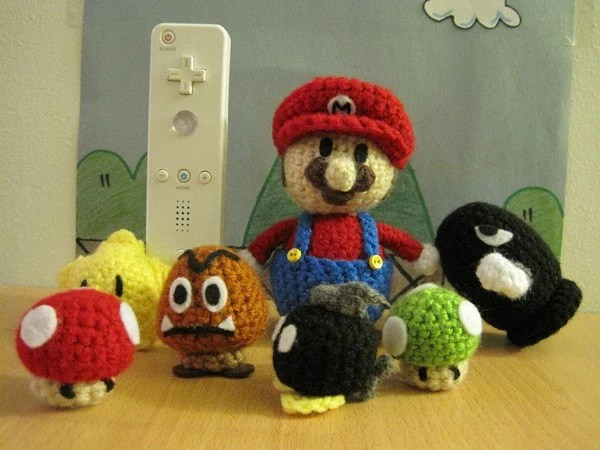 RESERVED FOR MANNAYA Super Mario Bros Amigurumi Lot (7pcs) Mario Goomba 1-Up Power Mushroom Bullet Bill Bob-Omb Starman crochet toy