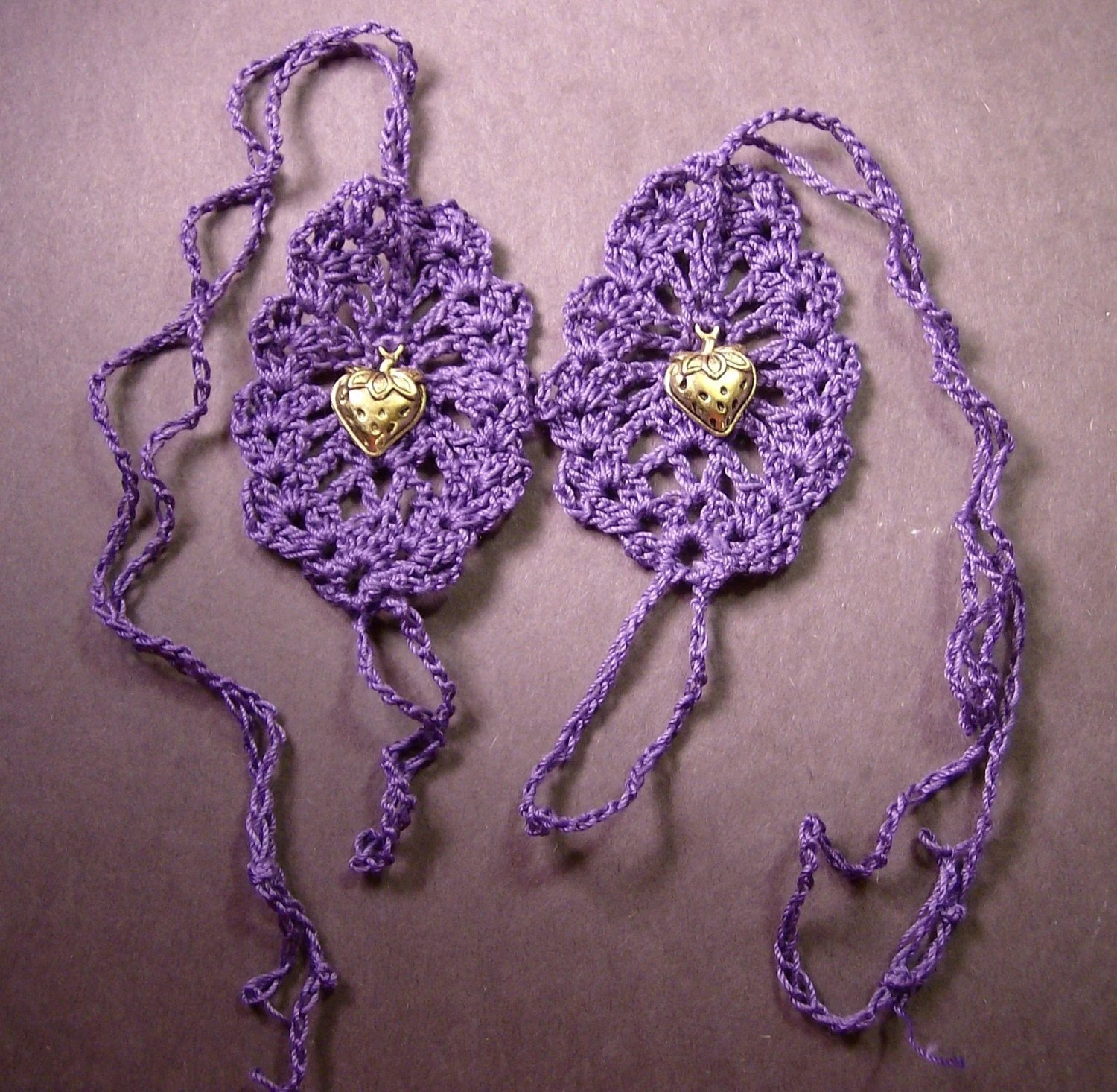 Purple Crochet Bare Foot Sandals With Charm..