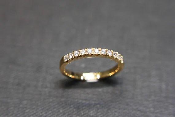 18k Yellow Gold Wedding Anniversary Diamond Band Bridal Ring