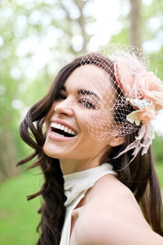 Peachy vintage - Bridal mini hat, handmade silk flower, birdcage veil - Made to Order