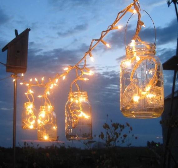 Mason Jar Party Lights, 6 Upcycled Lanterns for Wedding,Patio, Garden,Celebration, by TreasureAgain