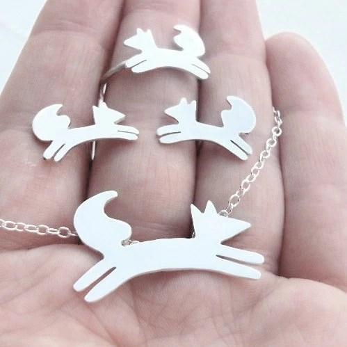 Dancing Fox FREE SHIPPING Pendant, Earrings and Ring Set