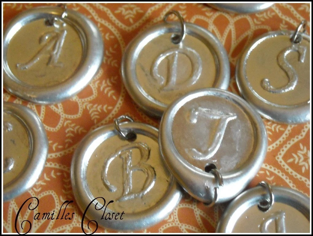 Wax seal monogram initial pendant.  You choose the initial, comes with chain buy 5 get 1 free.