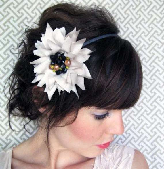 Taupe and Black Blossom Headband