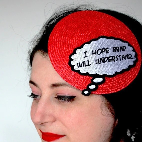 Comic inspired hat I hope brad will understand red white and black