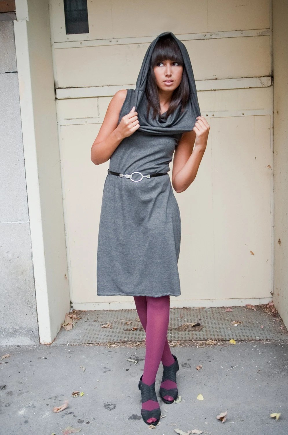 Chelsey - sleeveless dress with oversized cowl in gray - custom made