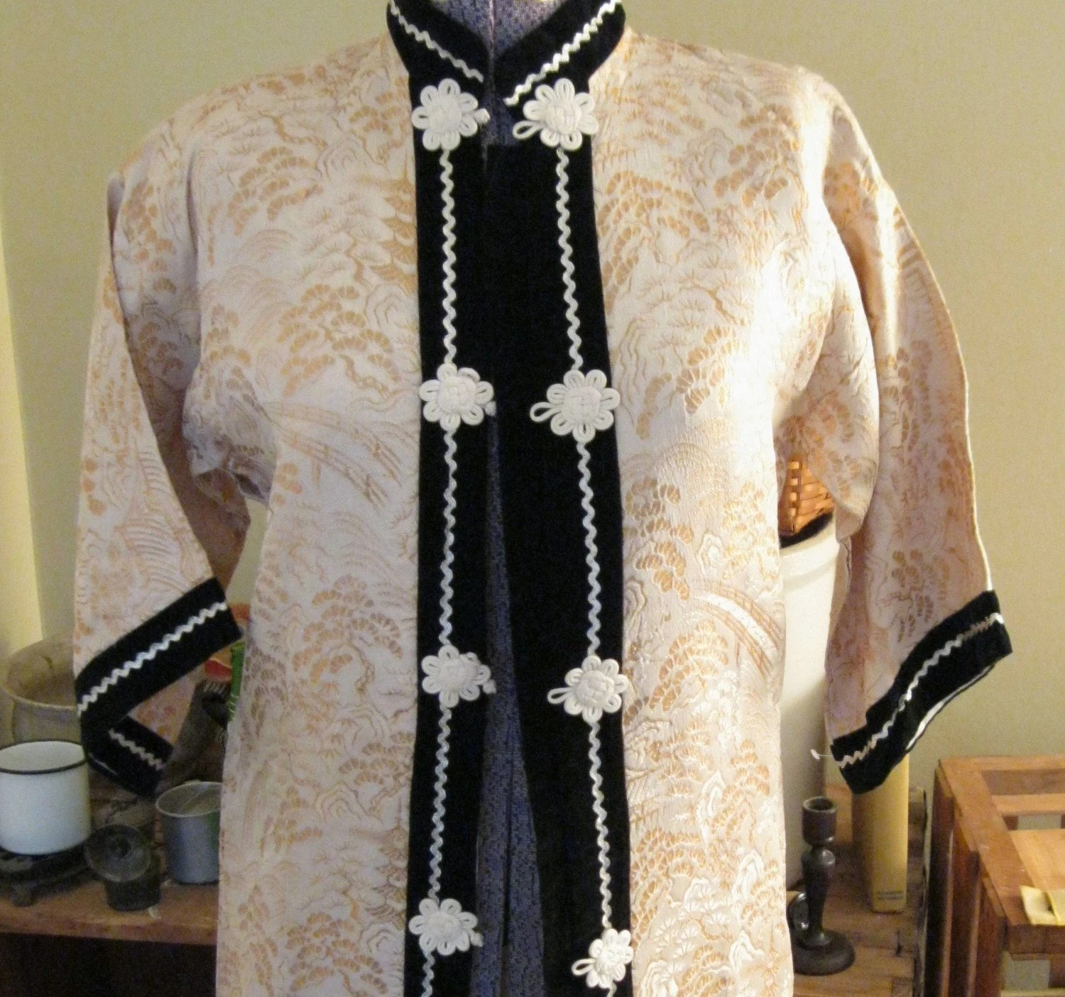 Vintage Mandarin Collar Jacket Asian Tang Suit
