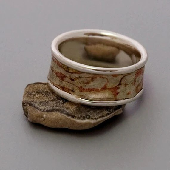 OOAK Unisex Earth Ring - Handmade Sterling Silver Copper and Brass Mokume Gane